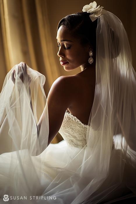 Portrait of bride with veil