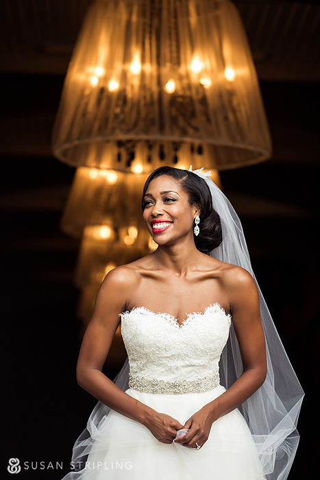 Portrait of bride in barn