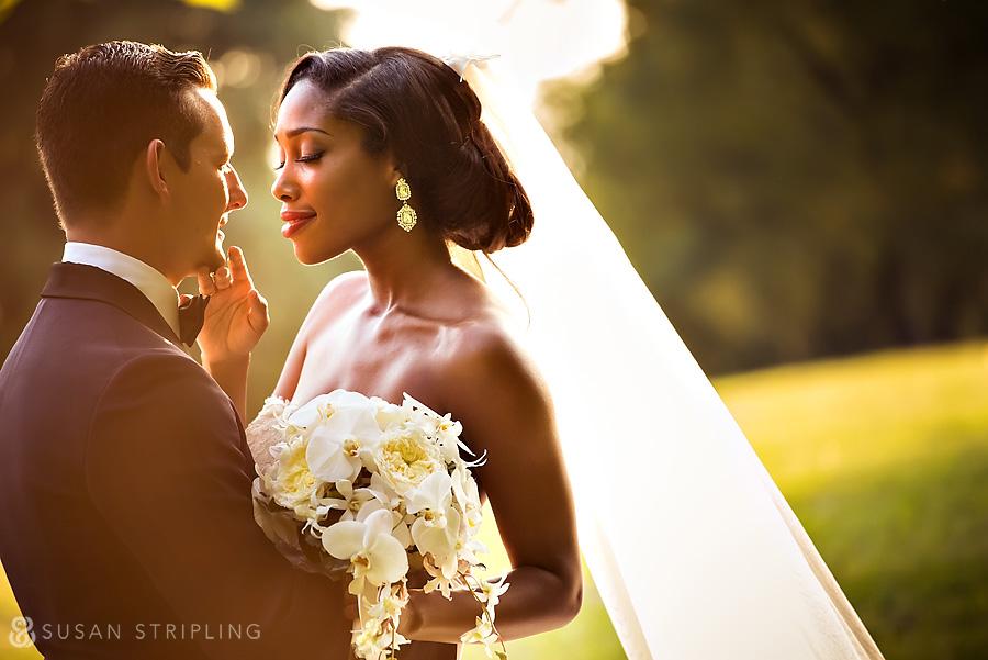 Backlit wedding portrait