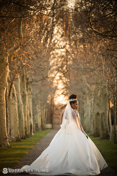 Bridal portraits at an Oheka Castle wedding